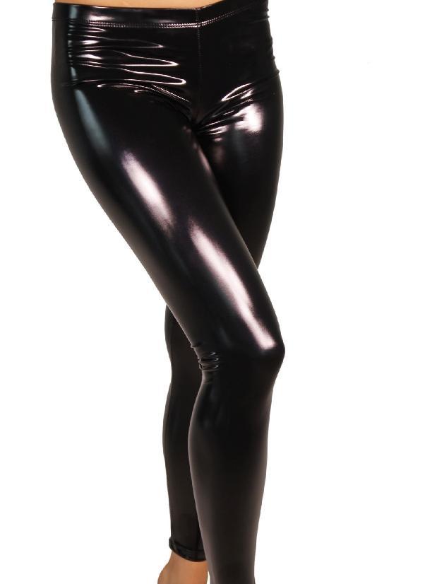 Cleo The Hurricane Heroine Liquid Vinyl Leggings - Black