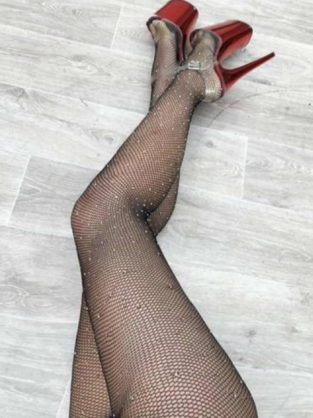 Lunalae Polewear Black Fishnet Stockings with Rhinestones