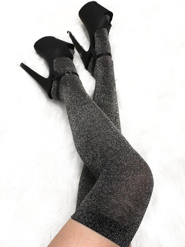 Lunalae Polewear Silver Lurex Thigh High Socks