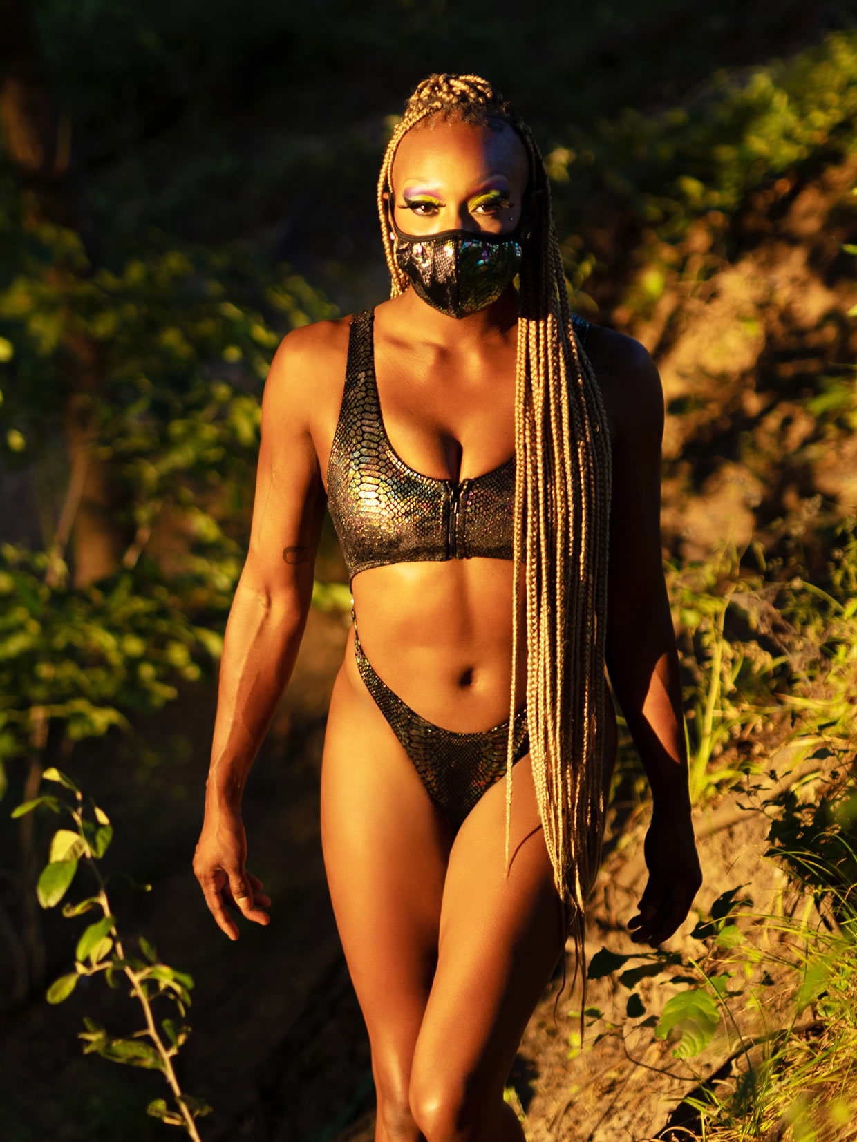 Cleo The Hurricane Queen Anaconda Velvet Monokini