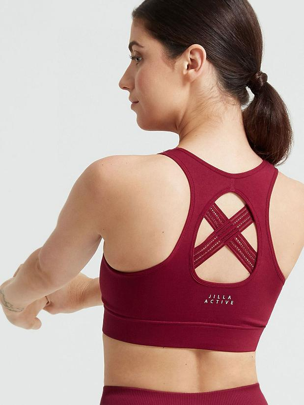 Jilla Active Deep Crescent Sports Bra - Raspberry