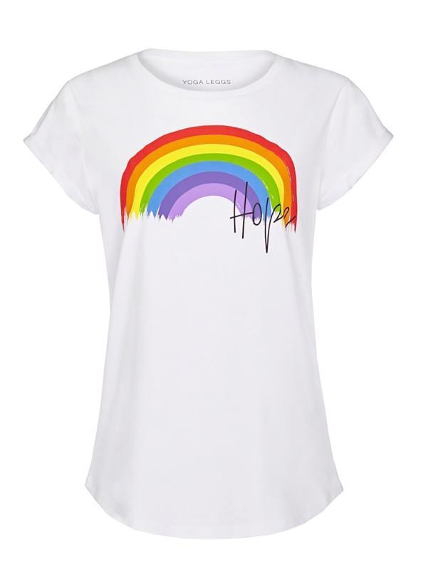 Yoga Leggs Rainbow and Hope White T-Shirt