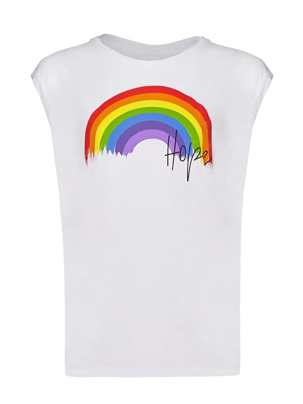Yoga Leggs Rainbow and Hope White Tank Top