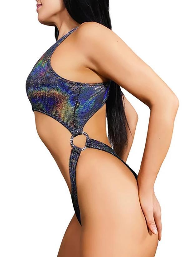 Cleo The Hurricane Queen Anaconda Velvet Monokini - Black Sparkle