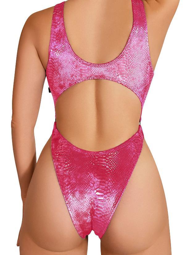 Cleo The Hurricane Queen Anaconda Velvet Monokini - Pink